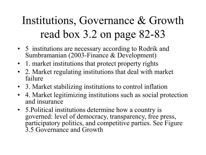 Institutions, Governance & Growth