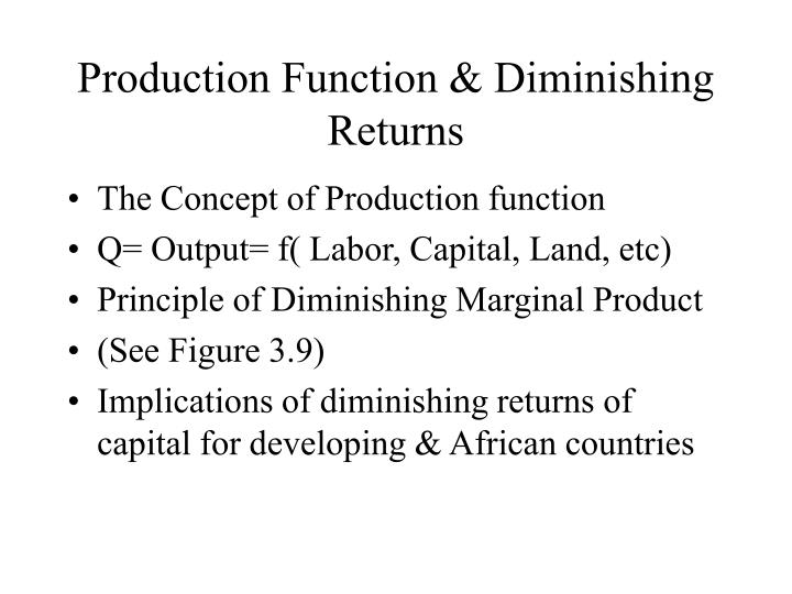 Production Function & Diminishing Returns