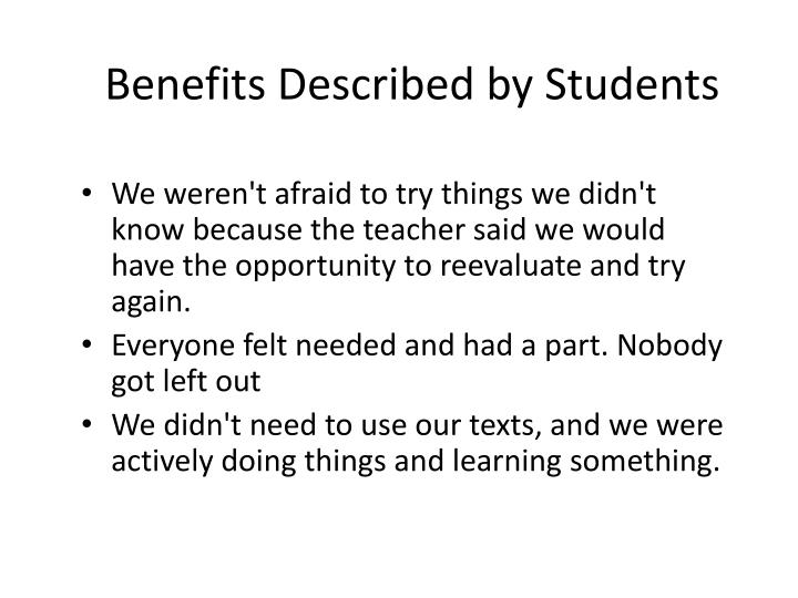 Benefits Described by Students