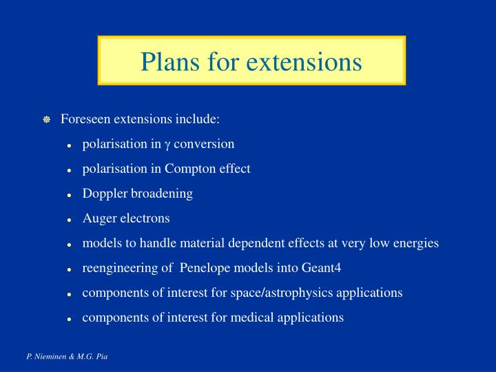Plans for extensions