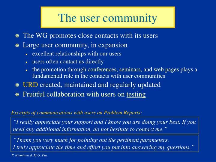 The user community