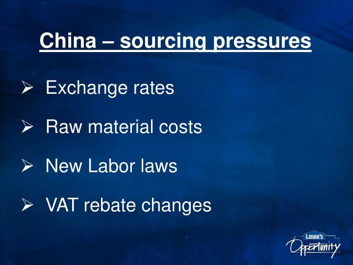 China – sourcing pressures