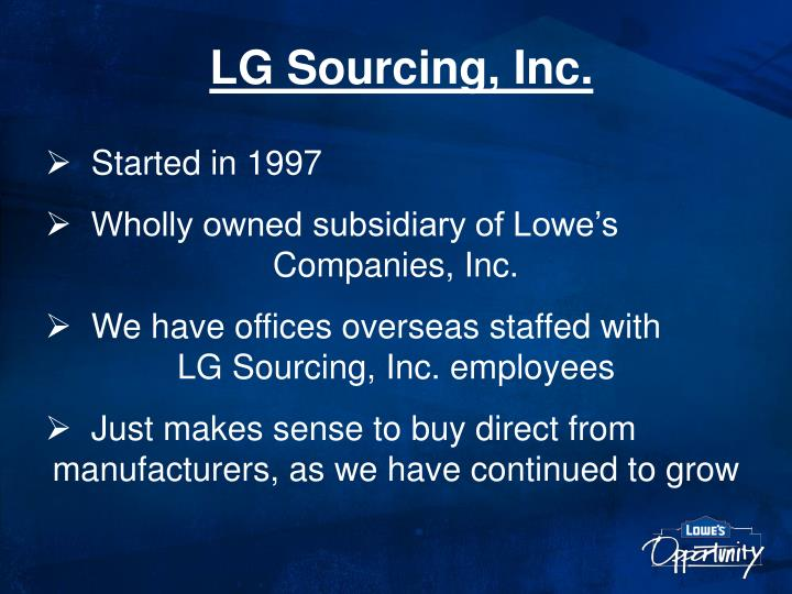 LG Sourcing, Inc.