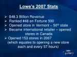 lowe s 2007 stats