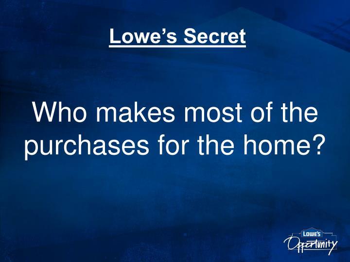 Lowe's Secret