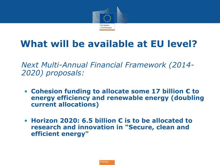 What will be available at EU level?
