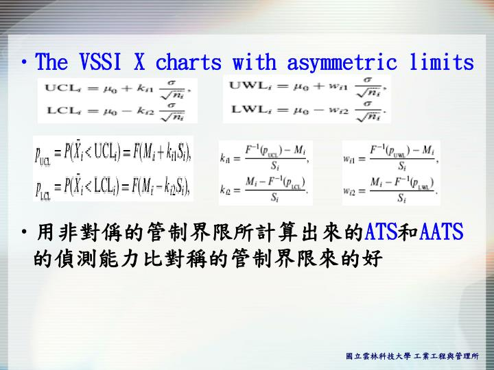 The VSSI X charts with asymmetric limits