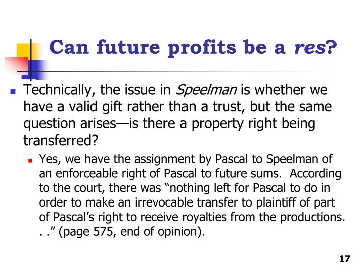 Can future profits be a