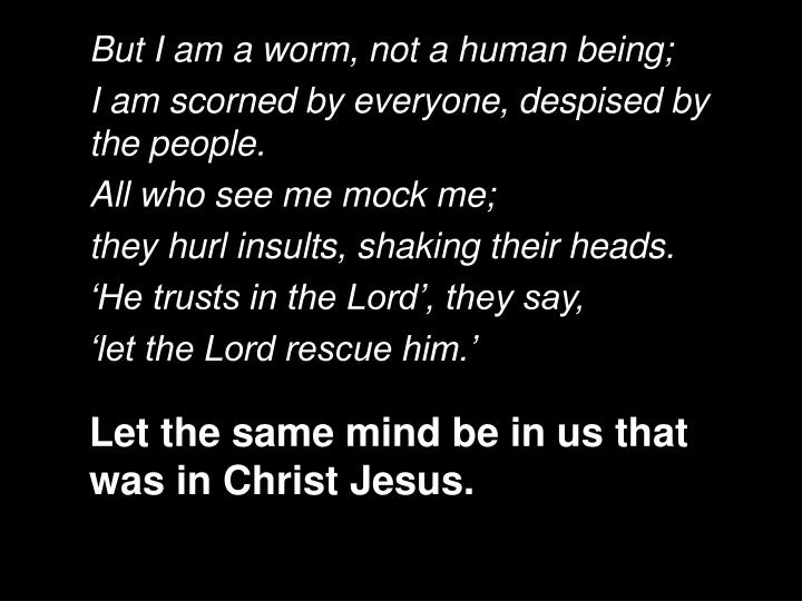 But I am a worm, not a human being;
