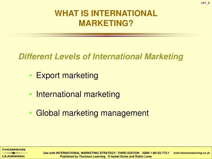 Different Levels of International Marketing