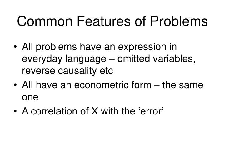 Common Features of Problems