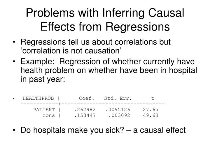 Problems with Inferring Causal Effects from Regressions