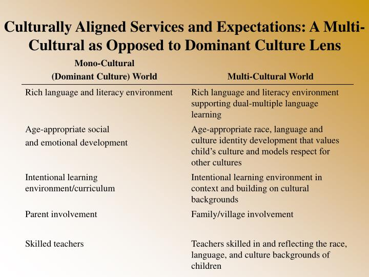 Culturally Aligned Services and Expectations: A Multi-Cultural as Opposed to Dominant Culture Lens