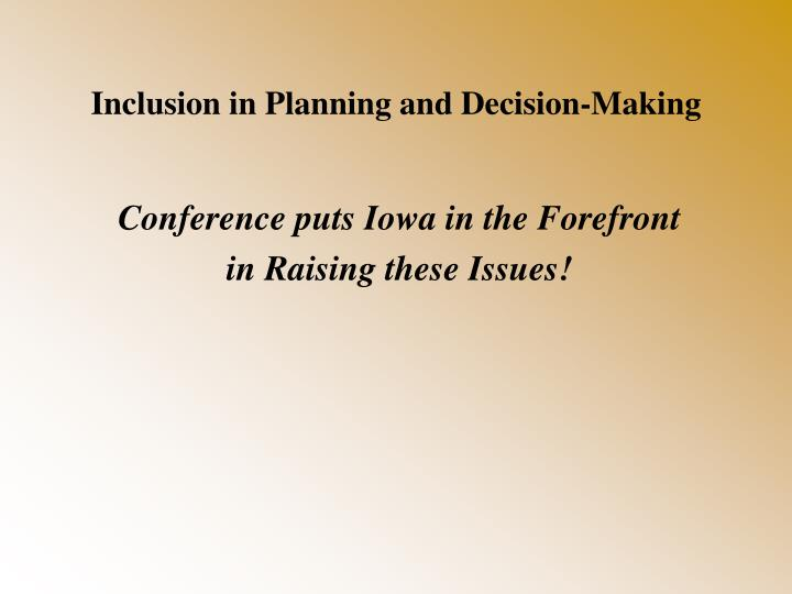 Inclusion in Planning and Decision-Making