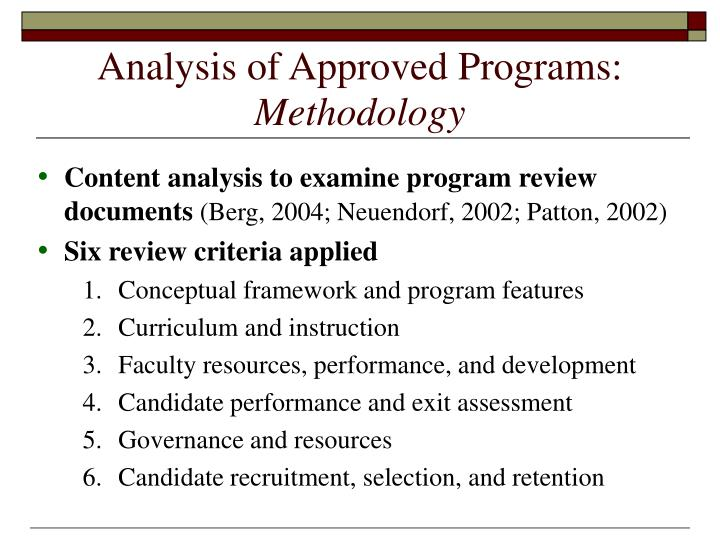 Analysis of Approved Programs: