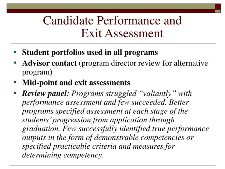 Candidate Performance and