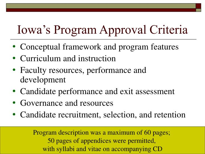 Iowa's Program Approval Criteria
