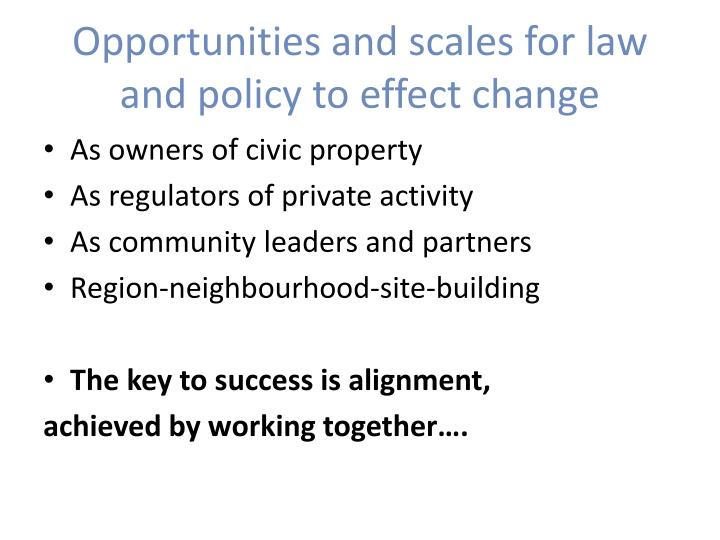 Opportunities and scales for law and policy to effect change