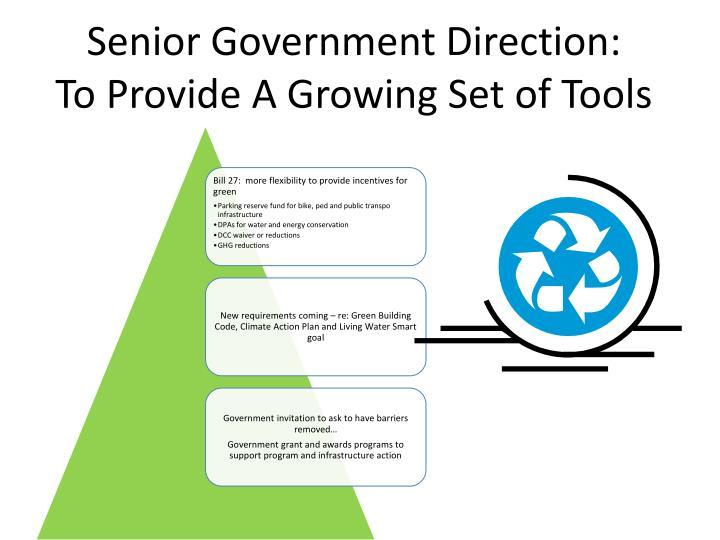 Senior Government Direction: