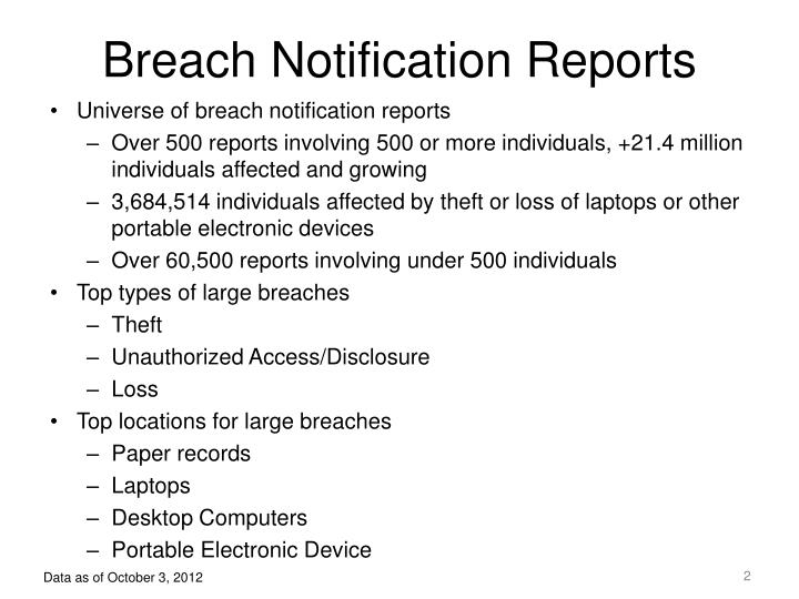 Breach notification reports