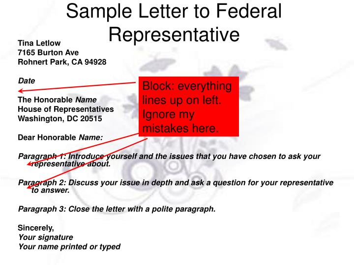 Sample Letter to Federal Representative