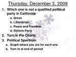 thursday december 3 2009