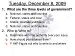 tuesday december 8 2009