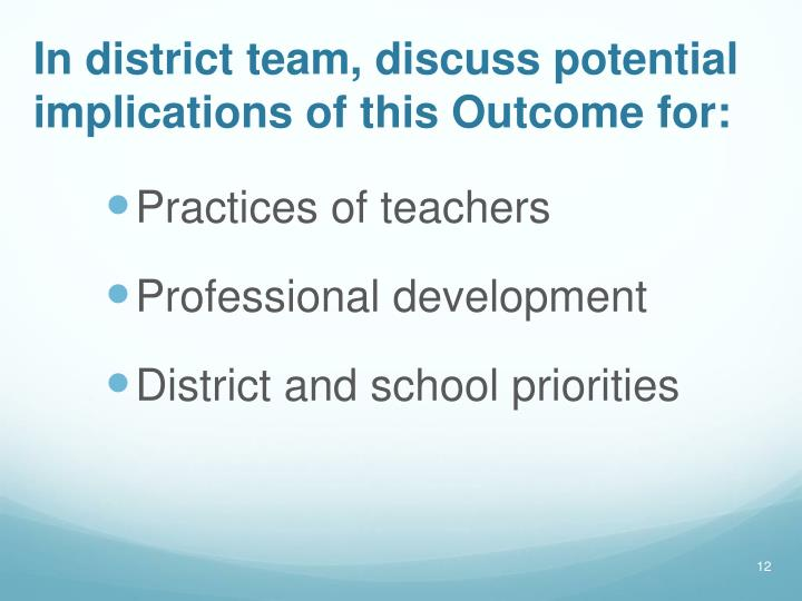 In district team, discuss potential implications of this Outcome for: