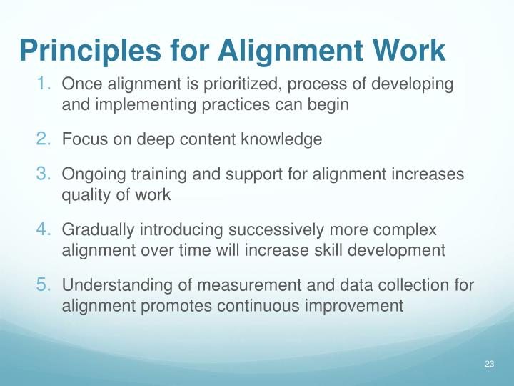 Principles for Alignment Work
