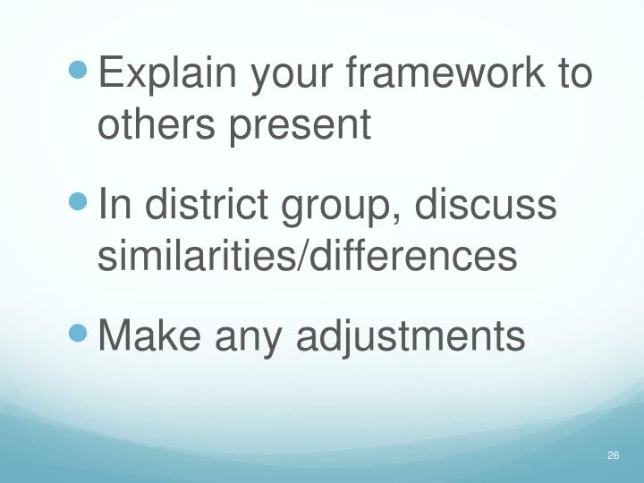 Explain your framework to others present