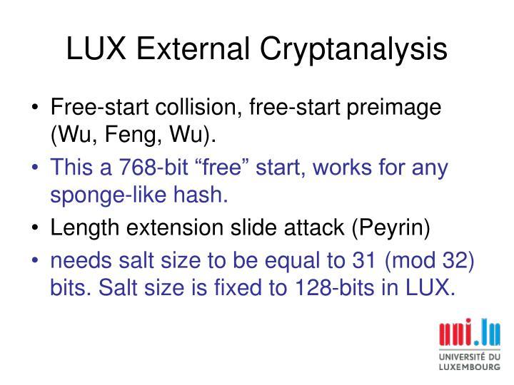 LUX External Cryptanalysis