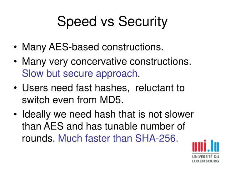 Speed vs Security