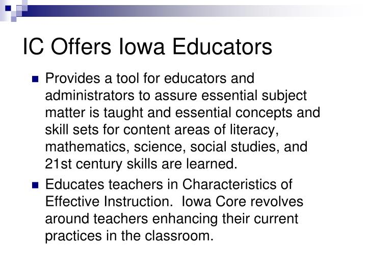IC Offers Iowa Educators