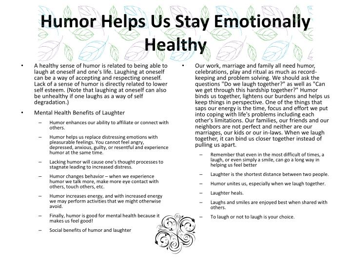 Humor Helps Us Stay Emotionally Healthy
