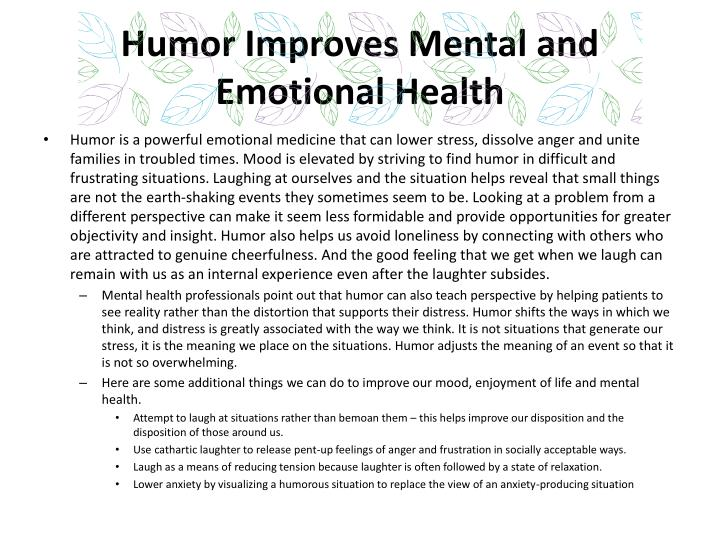 Humor Improves Mental and Emotional Health