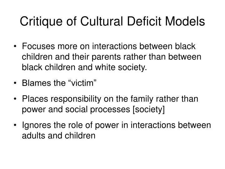 Critique of Cultural Deficit Models