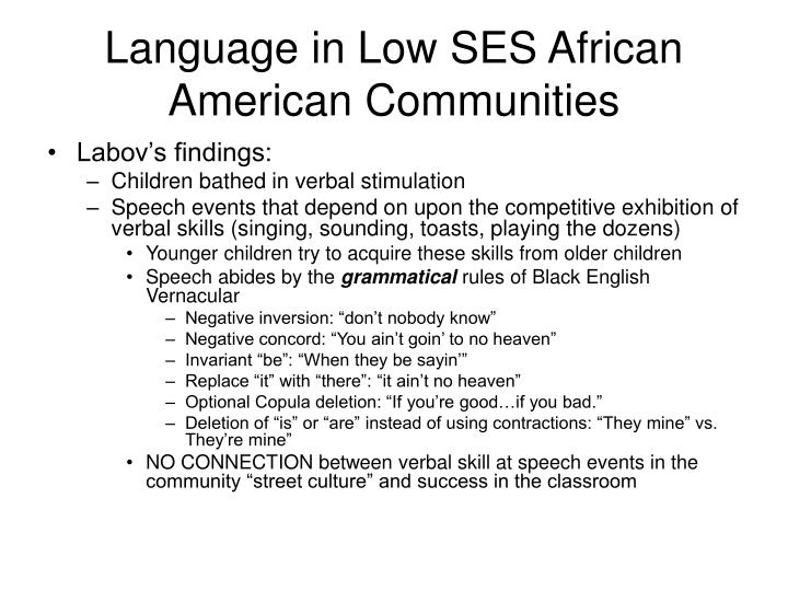 Language in Low SES African American Communities