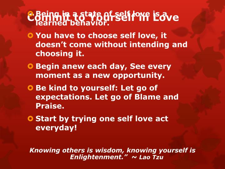 Commit to Yourself in Love