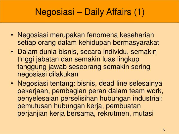 Negosiasi – Daily Affairs (1)