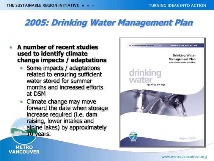 2005: Drinking Water Management Plan