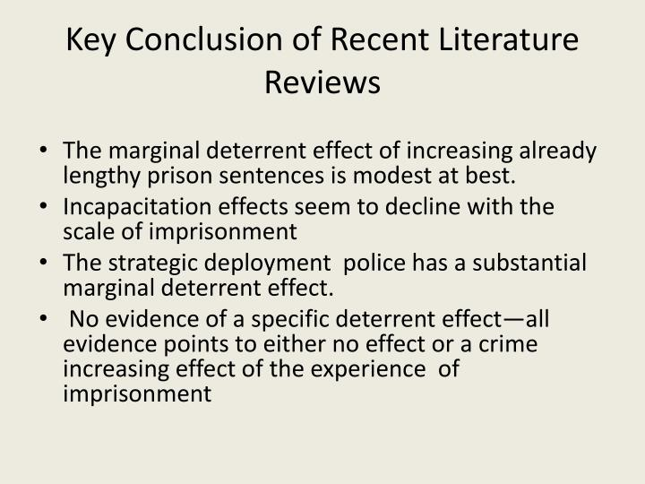 Key Conclusion of Recent Literature Reviews