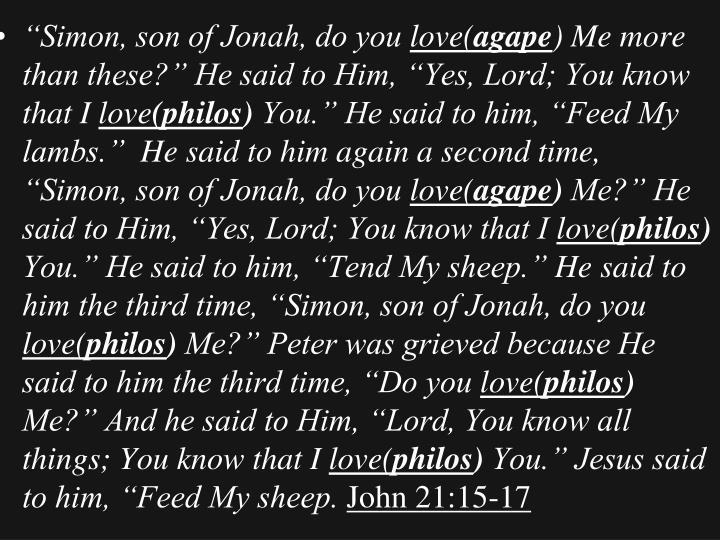 """""""Simon, son of Jonah, do you"""