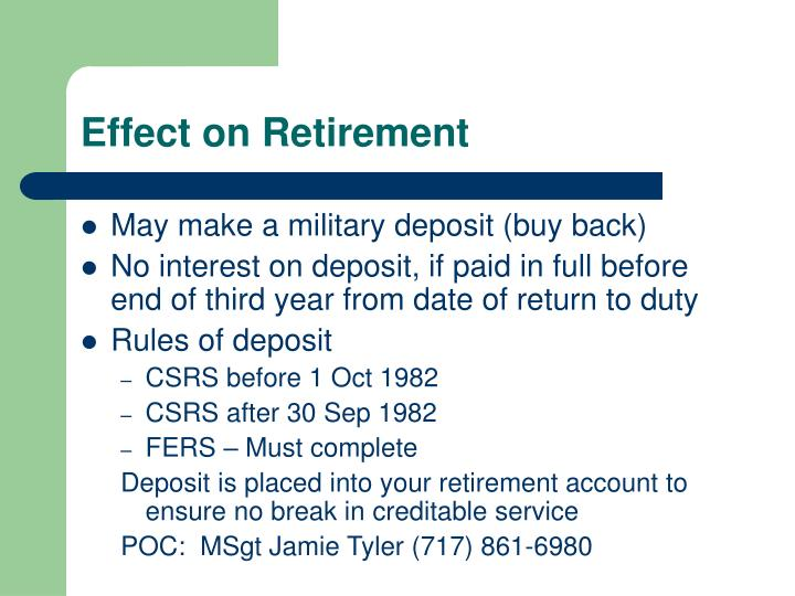 Effect on Retirement