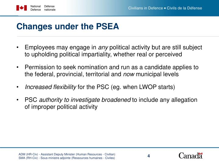 Changes under the PSEA
