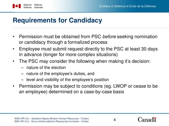 Requirements for Candidacy