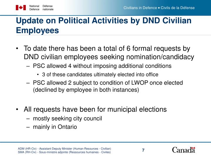 Update on Political Activities by DND Civilian Employees