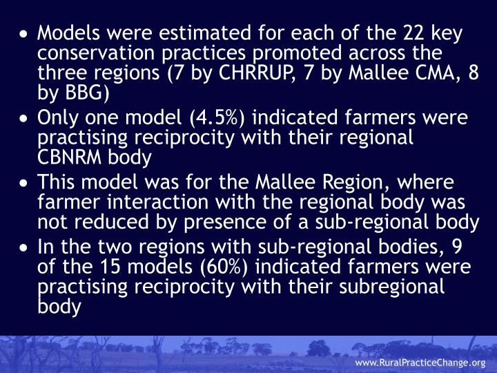 Models were estimated for each of the 22 key conservation practices promoted across the three regions (7 by CHRRUP, 7 by Mallee CMA, 8 by BBG)
