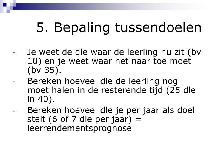 5. Bepaling tussendoelen
