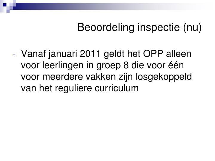Beoordeling inspectie (nu)