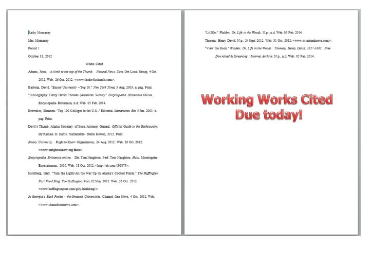 Working Works Cited